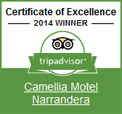 TripAvisor 2014 Winner - Camellia Motel 2014 Certificate of Excellence